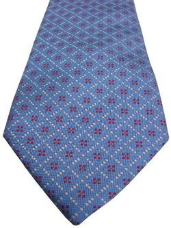 TM LEWIN Mens Tie Blue - White Check & 4 Red Polka Dots