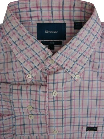 FACONNABLE Shirt Mens 16.5 L Pink & Blue Check CLUB