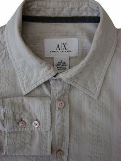 ARMANI EXCHANGE Shirt Mens 15.5 S Beige