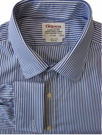TM LEWIN Shirt Mens 17 L Blue & White Stripes