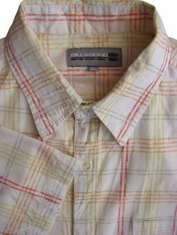 BILLABONG Shirt Mens 18 L Multi-Coloured Writing Check SHORT SLEEVE