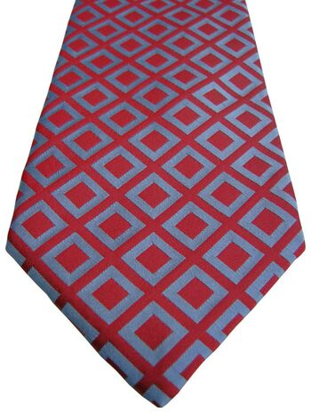 PROFUOMO Mens Tie Red - Light Blue Squares