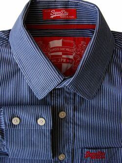 SUPERDRY Shirt Mens 15 M Dark Grey - White Stripes