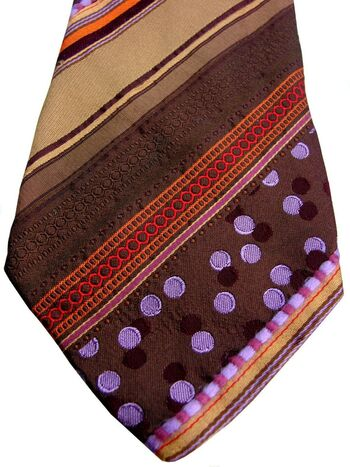 KENZO HOMME Mens Tie Brown & Multi Stripes - Pink & Lilac Polka Dots