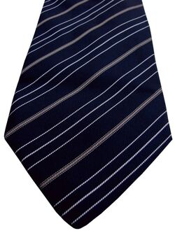 ETRO Mens Tie Black - White & Brown Stripes