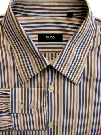 HUGO BOSS Shirt Mens 16.5 L White - Blue Brown & Grey Stripes
