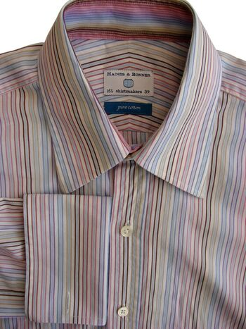 HAINES & BONNER Shirt Mens 15 S White - Multi-Coloured Stripes