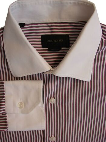 DUCHAMP LONDON Shirt Mens 15.5 M White - Brown & Fuchsia Stripes TAILORED FIT