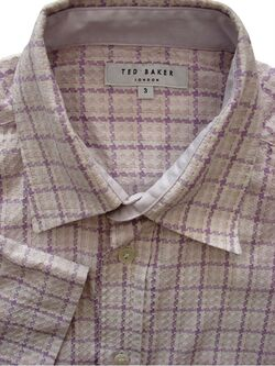 TED BAKER Shirt Mens 15 S White - Lilac & Purple Houndstooth Check SHORT SLEEVE