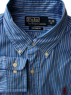 RALPH LAUREN POLO Shirt Mens 15 S Blue - Black & White Stripes CUSTOM FIT