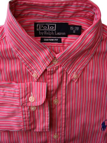 RALPH LAUREN POLO Shirt Mens 15 S Pink - Black & White Stripes CUSTOM FIT