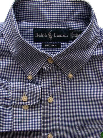 RALPH LAUREN Shirt Mens 15 S Blue & White Check SHORT ARMS CUSTOM FIT