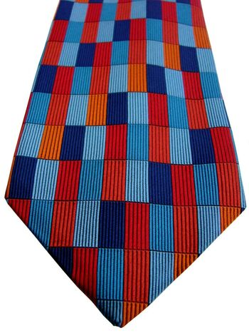 JOHN COMFORT Mens Tie Blue Red & Orange Rectangles
