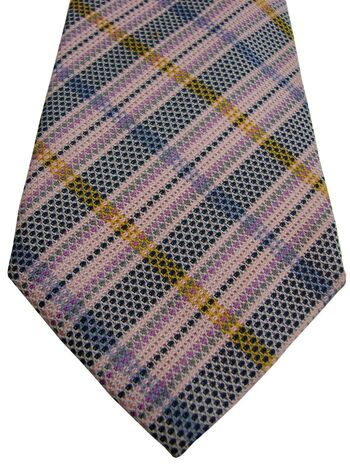 AUSTIN REED Mens Tie Pink - Multi-Coloured Check TEXTURED
