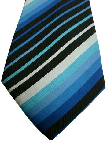 JOHN FRANCOMB TM LEWIN Mens Tie Black & Blue Stripes SKINNY