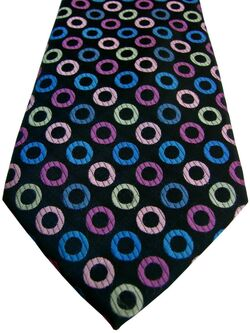 MARKS & SPENCER M&S Mens Tie Black - Multi-Coloured Polka Dots