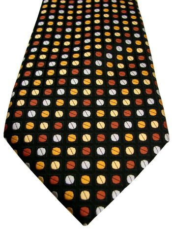 RESERVE Mens Tie Black - Multi-Coloured Polka Dots