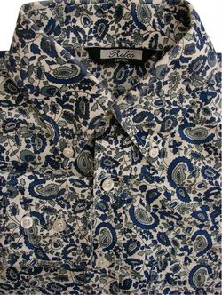 RELCO Shirt Mens 14.5 S White - Green & Blue Plants and Tear Drops