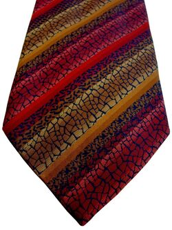 JOHN LEWIS Mens Tie Red & Gold Mosaic Stripes NEW