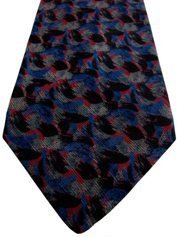 CERRUTI 1881 Tie Blue Grey Red & Black Splodges