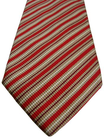 PROFUOMO Tie Gold - Red Burgundy & White Stripes