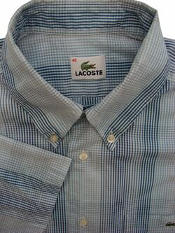 LACOSTE Shirt Mens 15.5 M Light Blue and Dark Blue Check SHORT SLEEVE