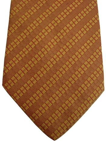 ETRO Mens Tie Orange Rectangular Stripes NEW BNWT