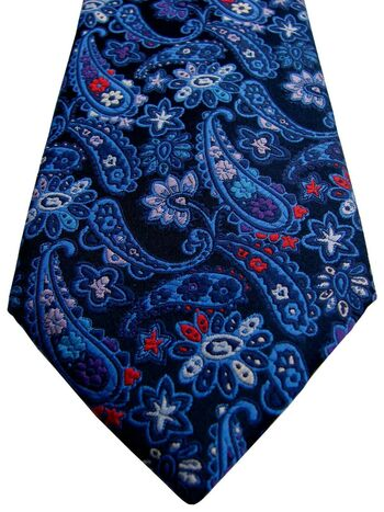 DAVIS & OLIVER Mens Tie Blue Paisley & Red Blue & Purple Flowers NEW