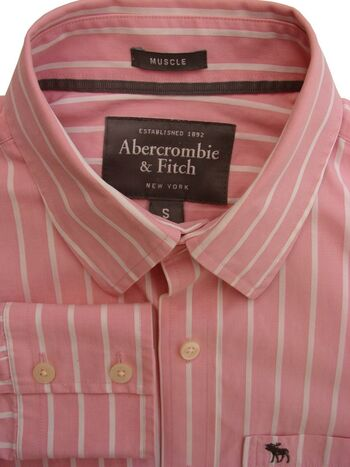 ABERCROMBIE & FITCH Shirt Mens 15.5 S Pink & White Stripes MUSCLE