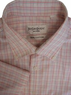 YVES SAINT LAURENT YSL Shirt Mens 16 L Pink White Red & Blue Check SHORT SLEEVE