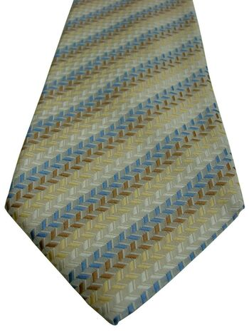 PROFUOMO Mens Tie Blue Brown White & Yellow Stripes