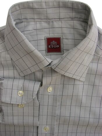ETON Shirt Mens 14.5 S Light Blue - Black Grey & White Check