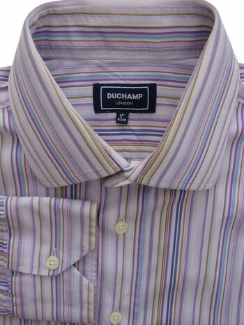 DUCHAMP LONDON Shirt Mens 16.5 L Lilac - Multi-Coloured Stripes