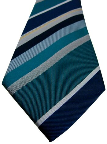 CHARLES TYRWHITT Mens Tie Green Blue White & Black Stripes