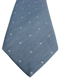 CHARLES TYRWHITT Mens Tie Light Blue - White Polka Dots