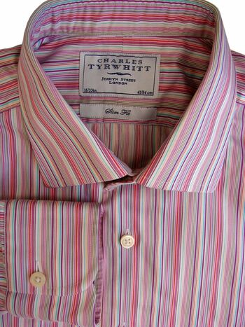 CHARLES TYRWHITT Shirt Mens 16 M Multi-Coloured Stripes SLIM FIT