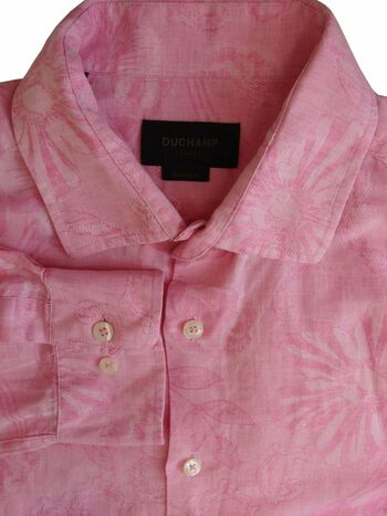 DUCHAMP LONDON Shirt Mens 16 M Pink - Flowers ROLL SLEEVE