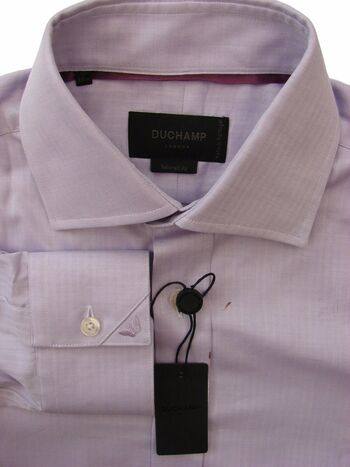 DUCHAMP LONDON Shirt Mens 15 S Lilac Mini Herringbone Stripes TAILORED FIT NEW