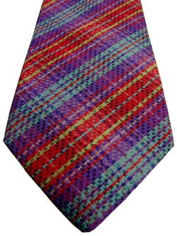 DUCHAMP LONDON Mens Tie Purple Red Yellow & Turquoise Check