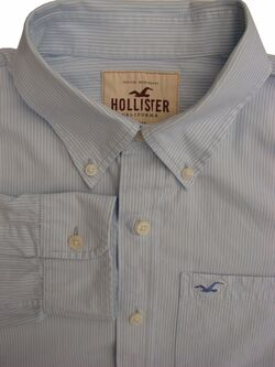 HOLLISTER Shirt Mens 17 XL Light Blue - White Stripes
