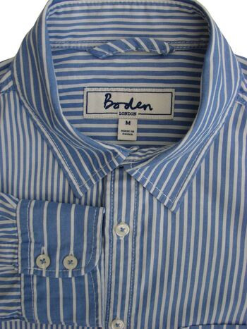 BODEN Shirt Mens 16 M Blue & White Stripes
