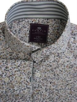 HAWES & CURTIS Shirt Mens 16.5 L White - Brown Flowers YORK SLIM FIT