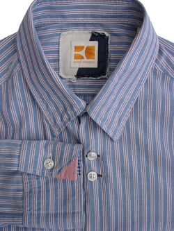 HUGO BOSS ORANGE Shirt Mens 15 S Blue - White & Red Textured Stripes LIGHTWEIGHT