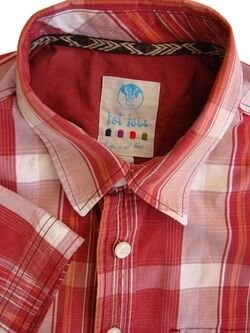 FAT FACE Shirt Mens 16.5 L Burgundy - Multi-Coloured Check SHORT SLEEVE