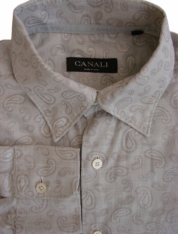 CANALI Shirt Mens 14.5 M Light Grey Tear Drops LIGHTWEIGHT