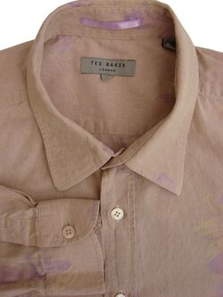TED BAKER Shirt Mens 15 S Light Brown - Lilac Flowers TEXTURED