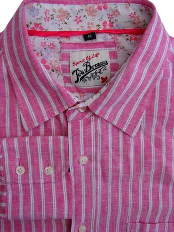 JOE BROWNS Shirt Mens 16 M Pink & White Stripes