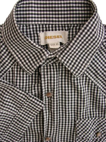 DIESEL Shirt Mens 14 XS Black & White Check POPPERS SHORT SLEEVE
