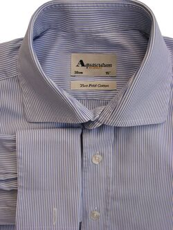 AQUASCUTUM Shirt Mens 14.5 S Blue & White Stripes