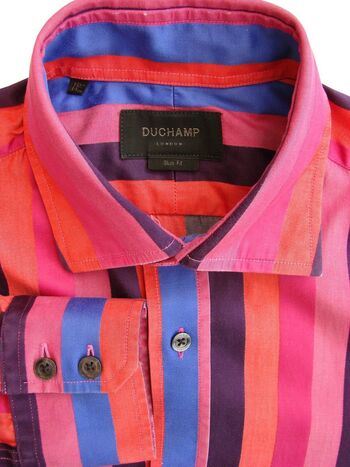 DUCHAMP LONDON Shirt Mens 15 S Multi-Coloured Wide Stripes SLIM FIT